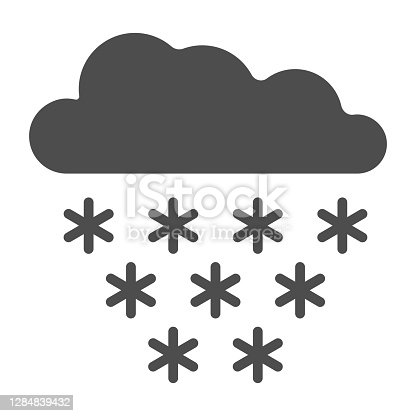 istock Snow is falling from snow cloud solid icon, World snow day concept, Weather symbol on white background, snowflakes with cloud in sky icon in glyph style for mobile and web. Vector graphics. 1284839432