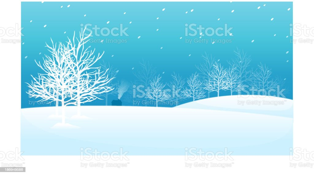 Snow landscape with trees and a house vector art illustration