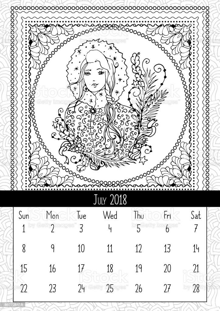 Snow Maiden Malvorlagen Buch Kalender Juli 2018 Stock Vektor Art und ...