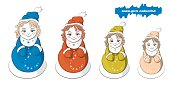 Image with four snowmen, the Snow Maiden or dolls