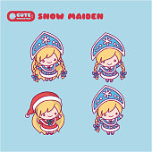 Snow Maiden with a kokoshnikom, crown. Blue and red suit. kawaii, cute, chibi cartoons.