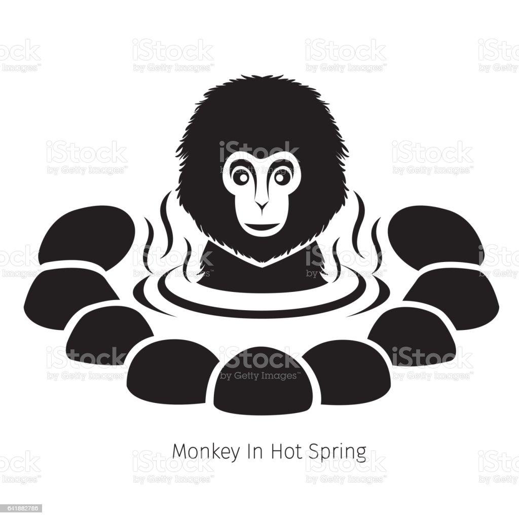 Snow Monkey In Hot Spring, Monochrome vector art illustration