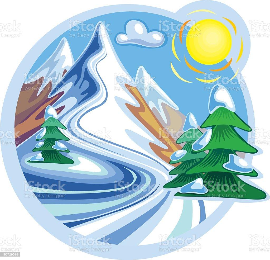 Snow Mountain Peaks and Sun royalty-free stock vector art