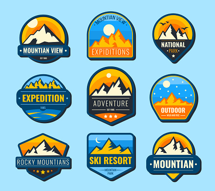 Snow mountains flat labels set. Hiking emblems and tourism logo vector illustration collection for design. Landscape, nature, park, recreation and expedition concept