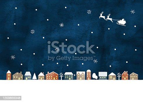 Snow night town