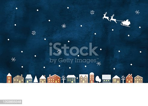 istock Snow night town 1203855348