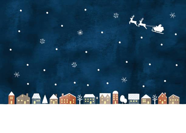 Snow night town Snow night town village stock illustrations