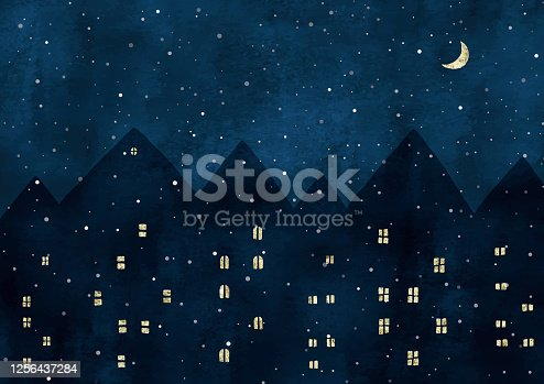 istock Snow night view watercolor in Europe 1256437284