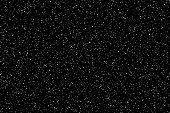Snow or stars on night sky background. Flat vector background