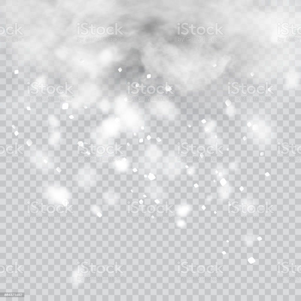 snow overlay on transparent background vector illustration of