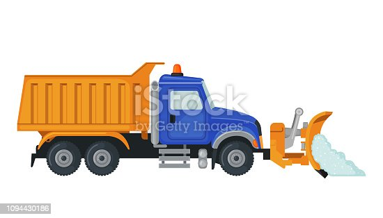 Snow Plow truck in flat style isolated on white background. Utility snow removal vehicle. Vector illustration.
