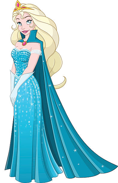 Snow Princess In Blue Dress Side vector art illustration