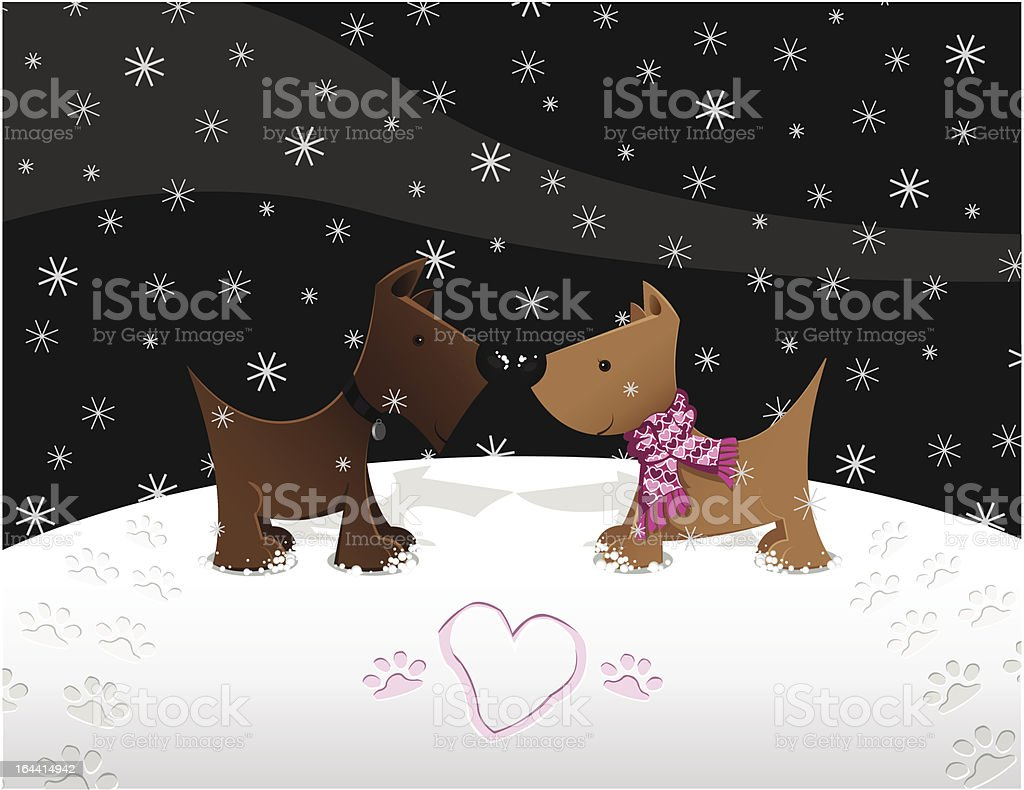 Snow Puppy Love royalty-free stock vector art