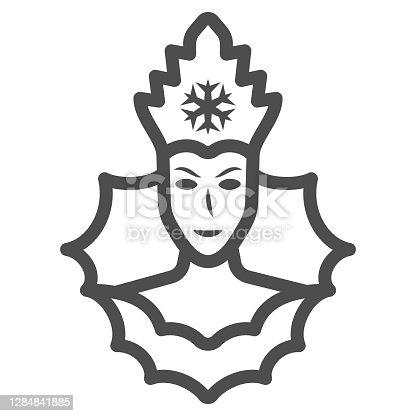 istock Snow Queen line icon, World snow day concept, Ice Queen sign on white background, winter princess icon in outline style for mobile concept and web design. Vector graphics. 1284841885