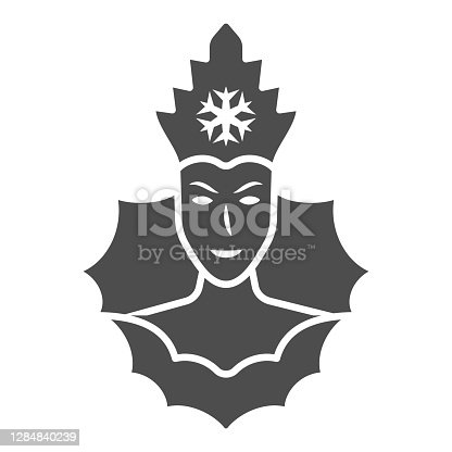 istock Snow Queen solid icon, World snow day concept, Ice Queen sign on white background, winter princess icon in glyph style for mobile concept and web design. Vector graphics. 1284840239