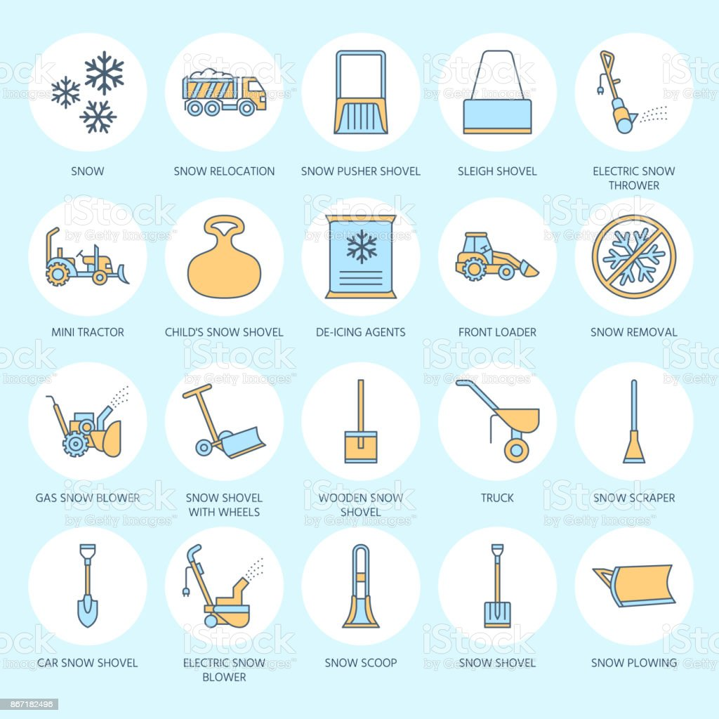Snow removal colored flat line icons. Ice relocation service signs. Cold weather equipment - snow thrower, blower, truck, front loader, snow shovel. Vector illustration, industrial cleaning symbols vector art illustration