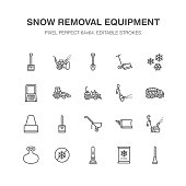 Snow removal flat line icons. Ice relocation service signs. Cold weather equipment - mini tractor, truck, front loader, shovel. Vector illustration, industrial cleaning symbols. Pixel perfect 64x64