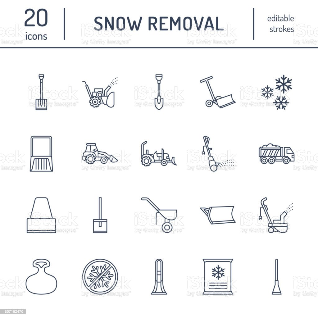 Machine Shop Floor Plans: Snow Removal Flat Line Icons Ice Relocation Service Signs