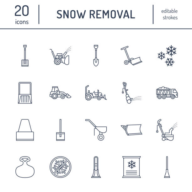 stockillustraties, clipart, cartoons en iconen met sneeuw verwijderen platte lijn pictogrammen. ijs verplaatsing dienst tekenen. koud weer apparatuur - sneeuwfrezen blower, vrachtwagen, frontlader, sneeuw shovel. vectorillustratie, industriële reiniging van symbolen - shovel