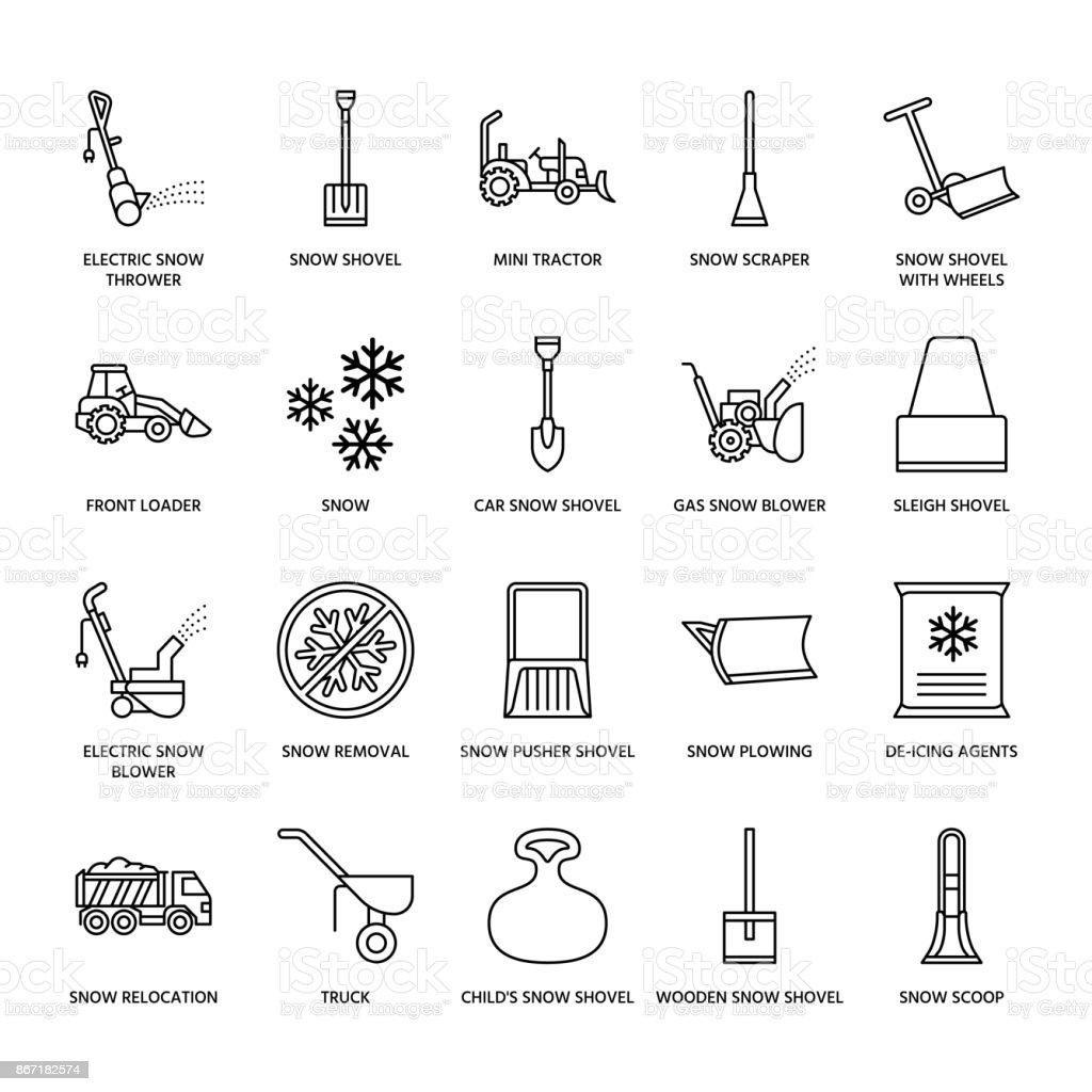 Snow removal flat line icons. Ice relocation service signs. Cold weather equipment - snow thrower, blower, truck, front loader, snow shovel. Vector illustration, industrial cleaning symbols vector art illustration
