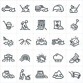 A set of snow removal icons. They include a truck with snowplow, snowblower, salt, snow shovel, person shoveling snow, person pushing snowblower, snowplow, snow storm, ATV with snowplow, house in the snow, snow cat and avalanche to name a few.