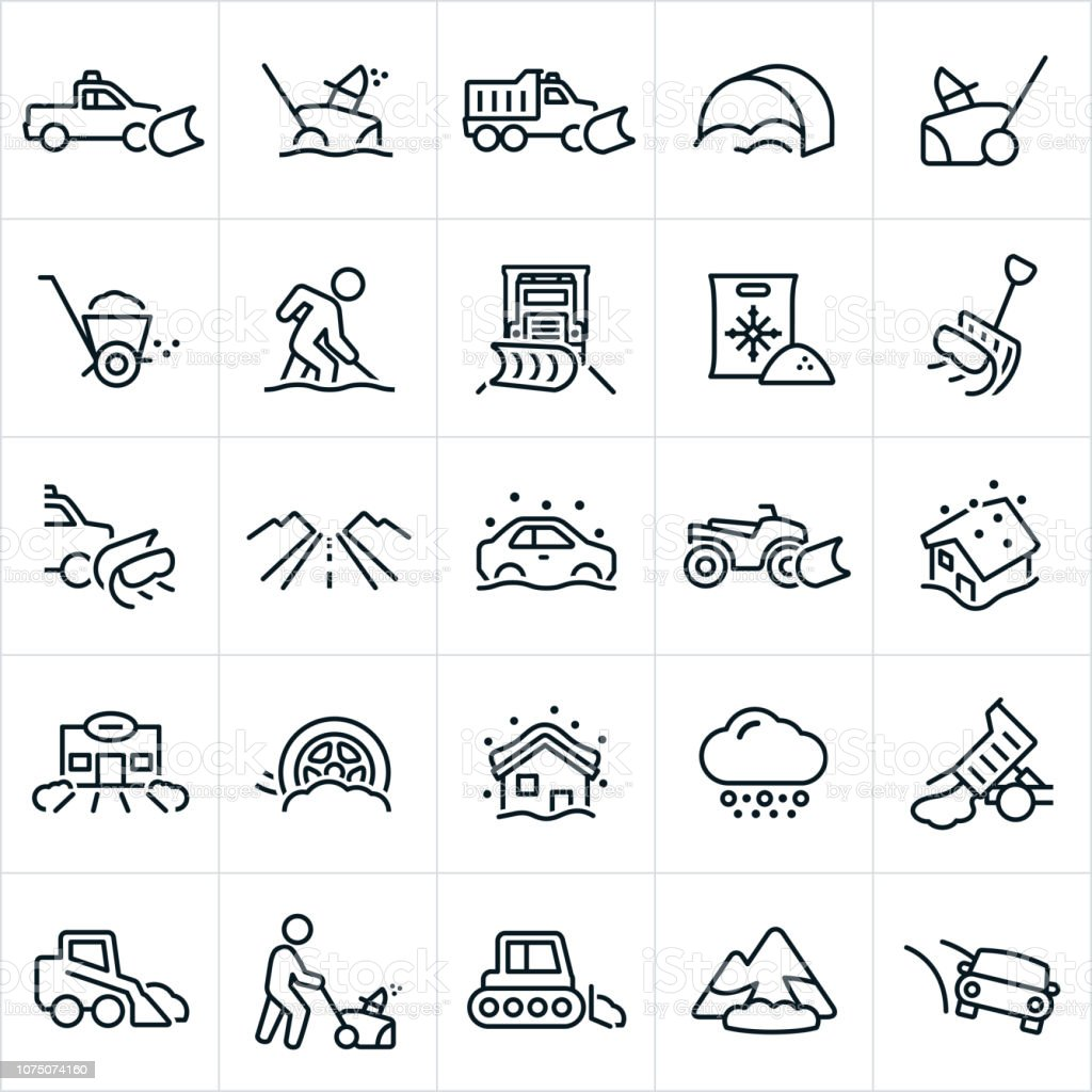 Snow Removal Icons vector art illustration