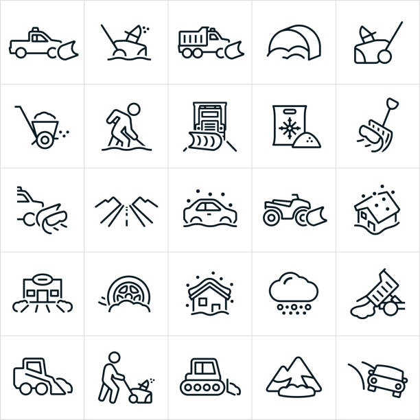 Snow Removal Icons A set of snow removal icons. They include a truck with snowplow, snowblower, salt, snow shovel, person shoveling snow, person pushing snowblower, snowplow, snow storm, ATV with snowplow, house in the snow, snow cat and avalanche to name a few. avalanche stock illustrations