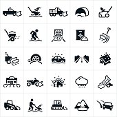 A set of snow removal icons. The icons include trucks with snow plows, plowing snow, snowblowers, snow shovel, person shoveling snow, salt to melt snow, cars in snow, and other equipment and machinery used to remove snow.