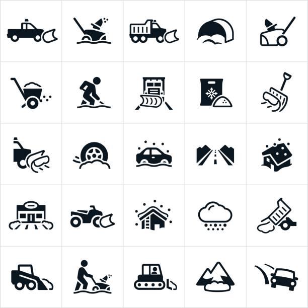 snow removal icons - feststecken stock-grafiken, -clipart, -cartoons und -symbole