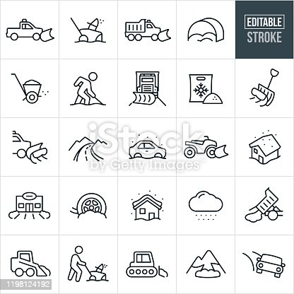 A set of snow removal icons that include editable strokes or outlines using the EPS vector file. The icons include a truck with snow plow, snowblower, snowplow, ice salt, ice salt spreader, person shoveling snow, snow shovel, mountain road, car stuck in snow, ATV with snow plow, blizzard, business with pushed snow, snow removal service, snow storm, snow removal, snow cat, person using a snowblower, avalanche and black ice to name a few.