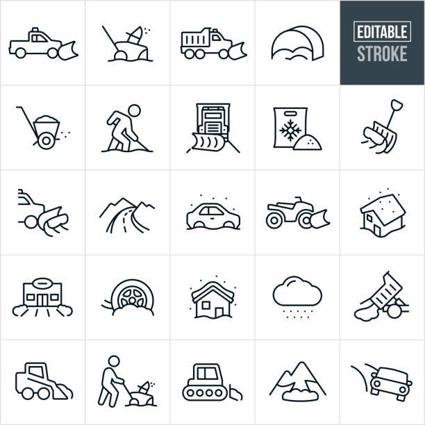 illustrazioni stock, clip art, cartoni animati e icone di tendenza di icona linea sottile rimozione neve - tratto modificabile - car chill