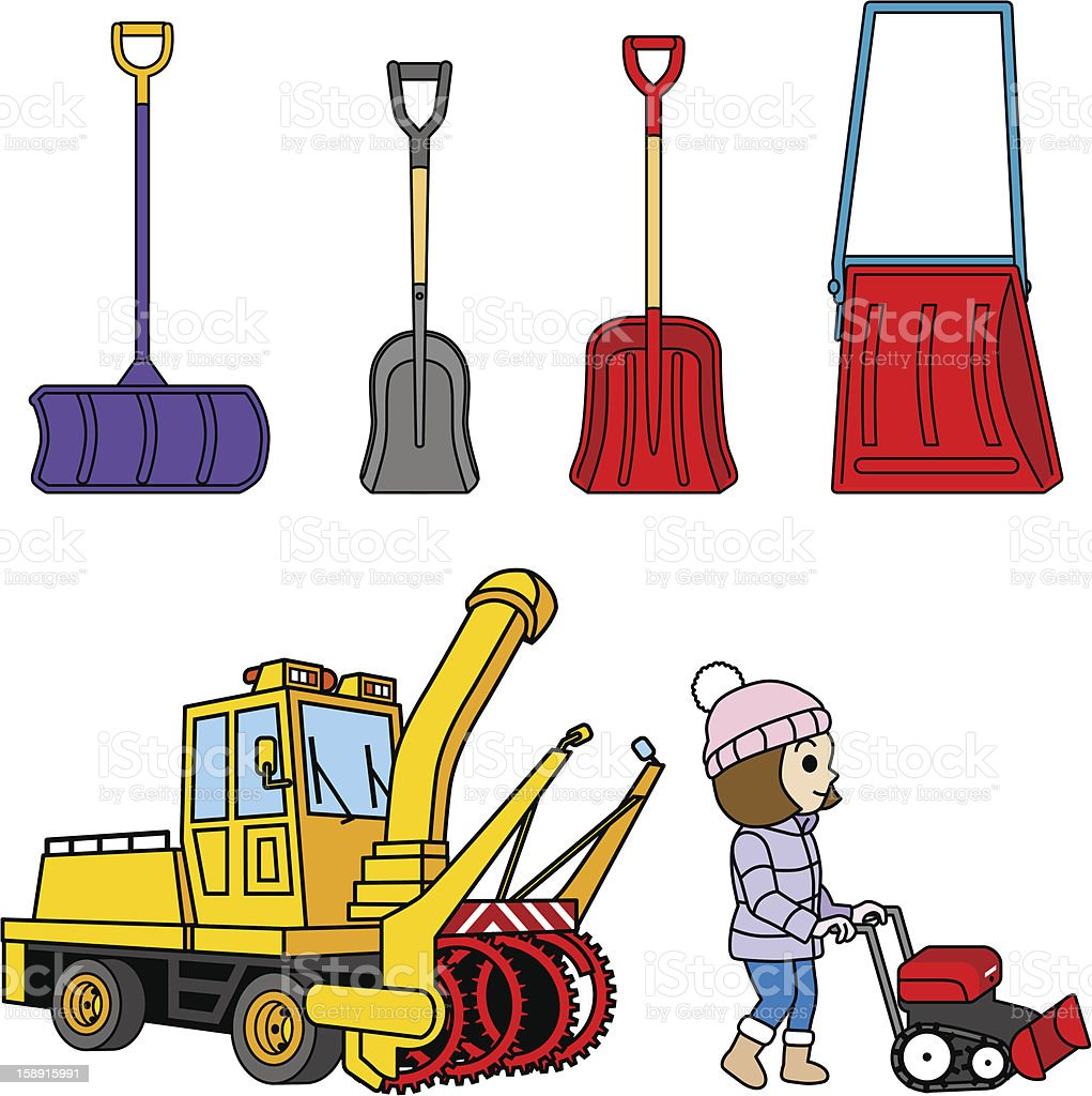 Snow removal tool, shovel and Snowplow vector art illustration