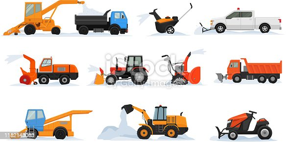 Snow removal vector winter vehicle excavator bulldozer cleaning removing snow illustration snowy set of snowplow equipment tractor truck snowblower transportation isolated on white background.