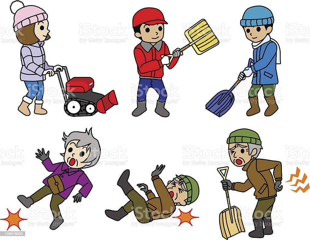 Snow removal,Snowplow,winter Risk of elderly vector art illustration