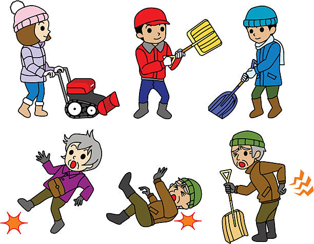 snow removal,snowplow,winter risk of elderly - old man on a back pain silhouette stock illustrations, clip art, cartoons, & icons