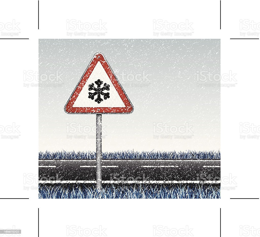 snow, road and traffic sign royalty-free stock vector art