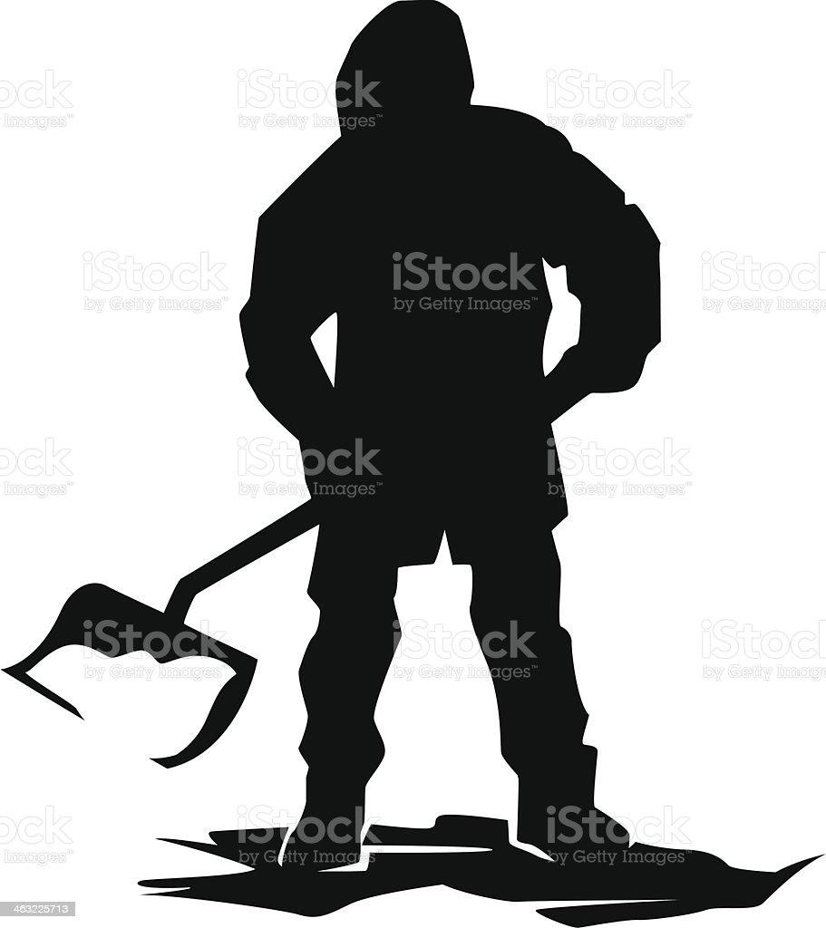 snow shoveler vector art illustration