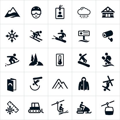 Snow Ski and Snowboard Icons