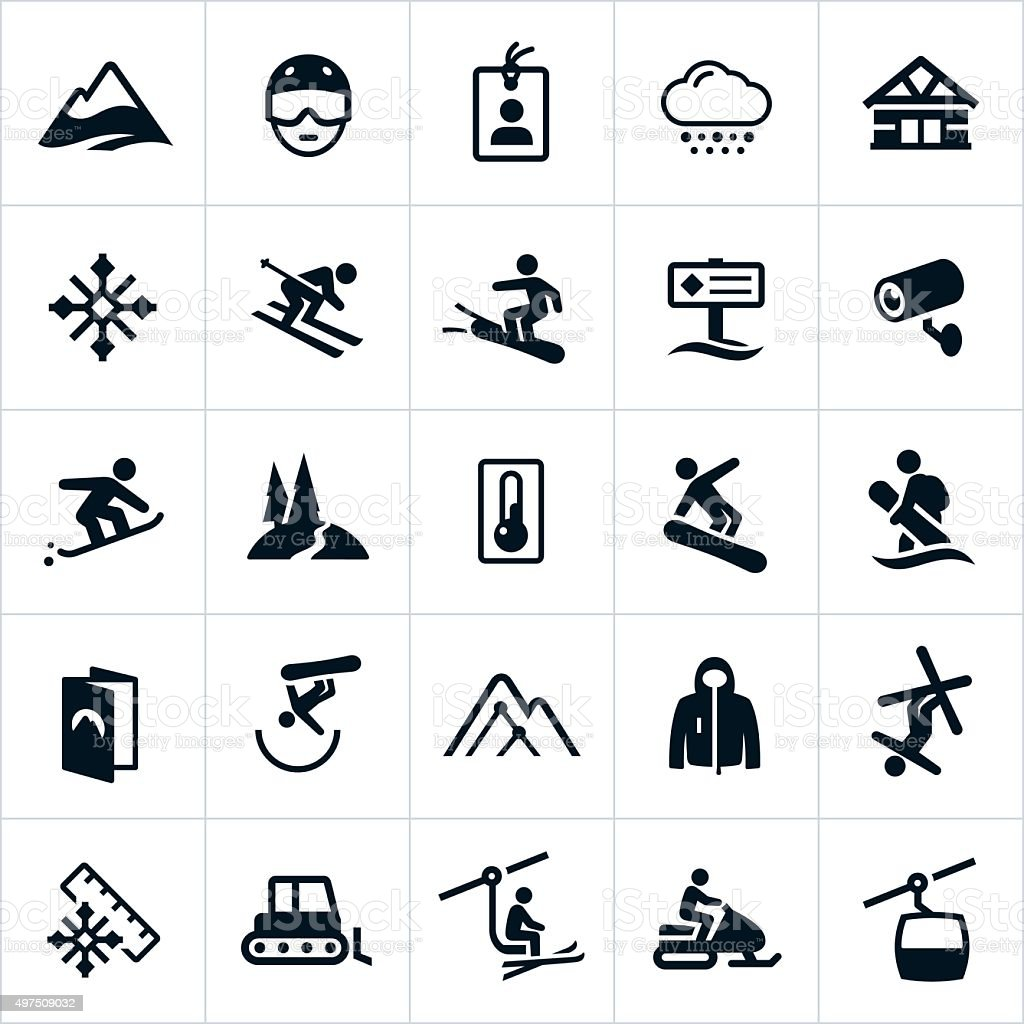 Snow Ski and Snowboard Icons vector art illustration