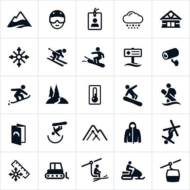 schnee-ski und snowboard-icons - skifahren stock-grafiken, -clipart, -cartoons und -symbole