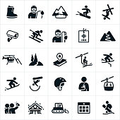 A set of snow skiing icons. The icons include skiers, snowboarders, winter gear, mountains, heli-skiing, ski lift, ski park, tricks, cabin, ski pass and gondola to name a few.