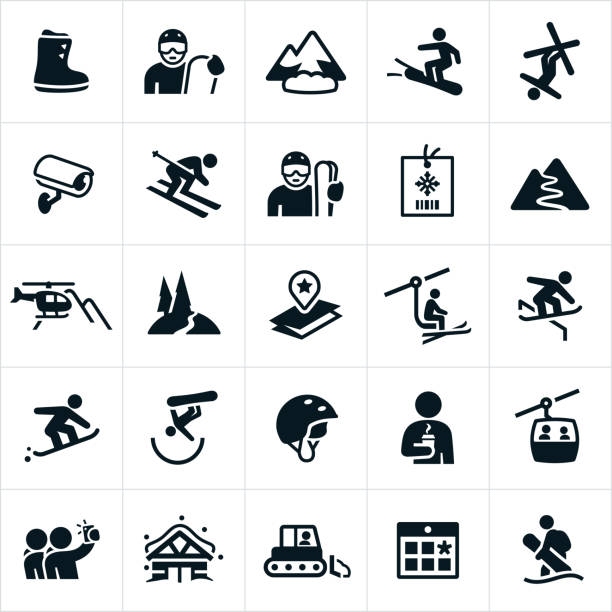 schnee ski icons - skifahren stock-grafiken, -clipart, -cartoons und -symbole