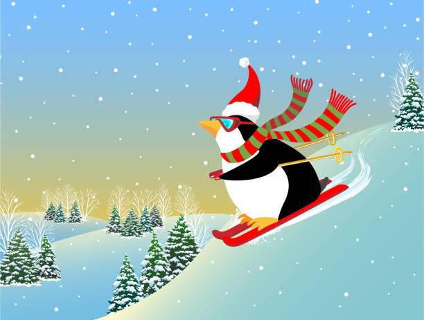Snow Skiing Penguin A Polar bear snowboarding down a mountain penguin stock illustrations
