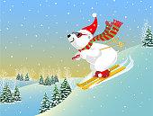 A Polar bear snowboarding down a mountain