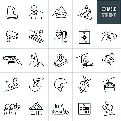 Snow Skiing Thin Line Icons - Editable Stroke