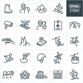 A set of snow skiing and snowboarding icons that include editable strokes or outlines using the EPS vector file. The icons include a skier, snowboarder, snowboard boot, snowboarder holding snowboard and wearing a helmet and goggles, avalanche, snowboarder going down hill, camera, skier going down hill, skier holding skies and wearing a helmet and goggles, ski pass, ski tracks, helicopter, snow, powder, trail map, skier riding ski lift, snowboarder riding rail, snowboarder doing trick in halfpipe, ski helmet, freestyle skier, gondola, selfie, cabin, snow cat, calendar and other related icons.