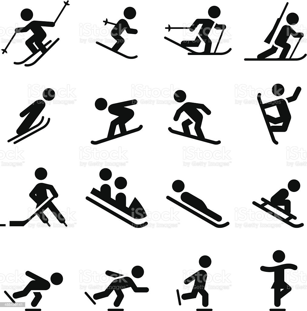 Snow Sports Icons - Black Series vector art illustration