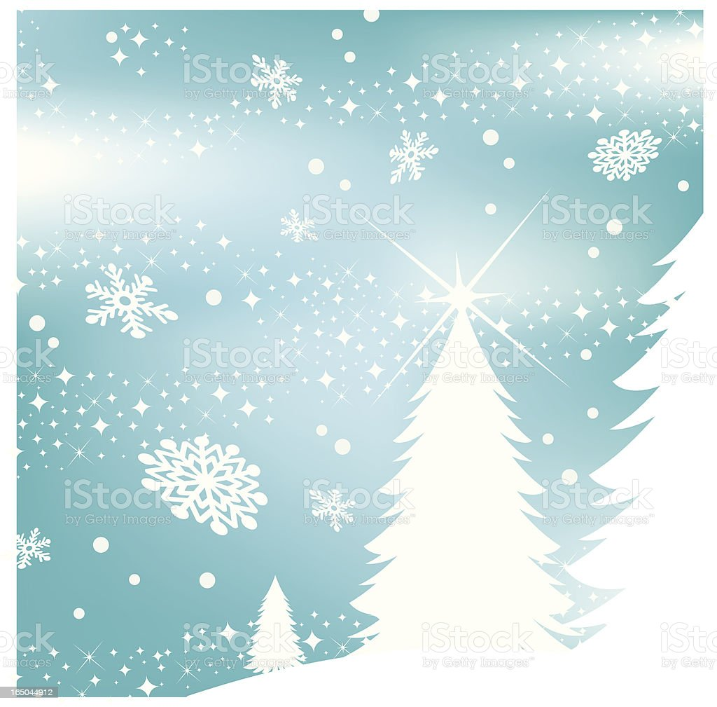snow stars and trees royalty-free stock vector art