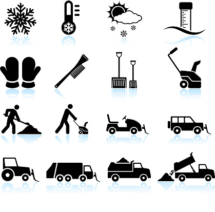 Snow Storm and Removal black & white vector icon set