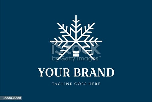 istock Snow Symbol with House for Cottage Cabin Chalet or Real Estate Logo Design Vector 1333036355